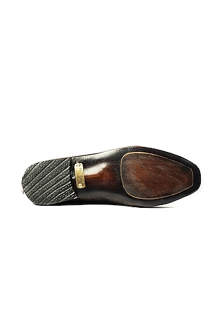 Brown Embossed Loafers by ARTIMEN