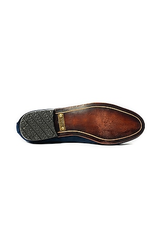 Blue Leather Loafers by ARTIMEN