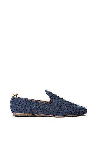 Blue Stone Washed Fabric Loafers by ARTIMEN