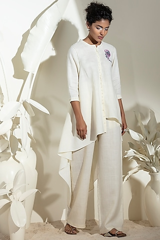 Ivory Embroidered Shirt by AMPM