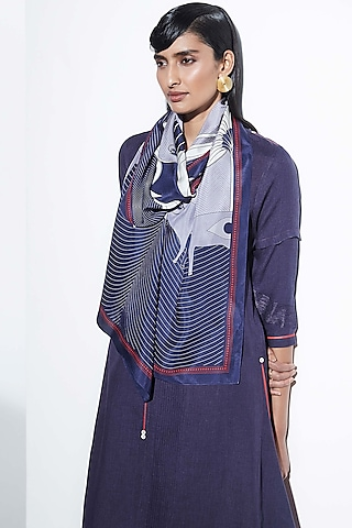 Purple Embroidered Scarf by AMPM