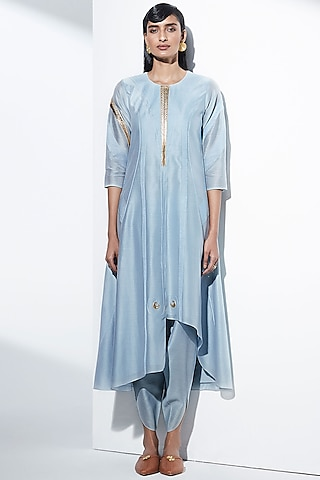 Powder Blue Embroidered Tunic Set by AMPM