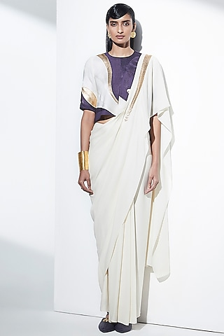 Ivory Embroidered Pre-Draped Saree Set by AMPM