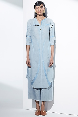 Powder Blue Embroidered Kurta by AMPM