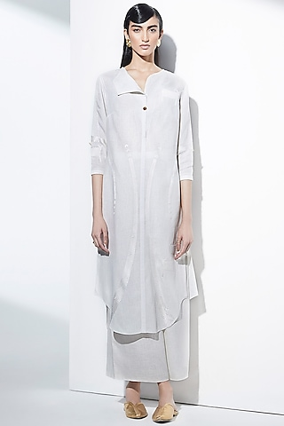 Ivory Embroidered Tunic by AMPM