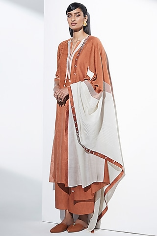 Tan Brown Embroidered Tunic Set by AMPM