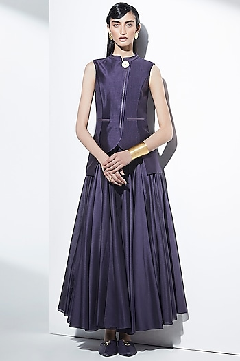 Purple Flared Pleated Palazzo Pants by AMPM