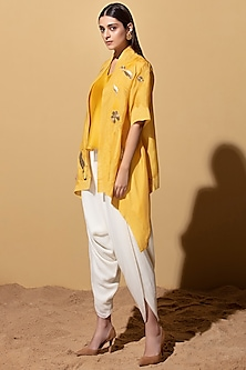 Mustard Throw-Over Jacket With Camisole & Dhoti by AM:PM