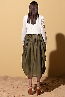 Olive Green Draped Skirt by AM:PM