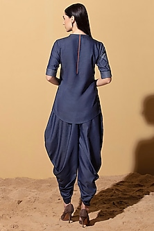 Denim Blue Dhoti Pants With Belt by AM:PM