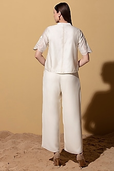 Ivory Georgette Palazzo Pants by AM:PM