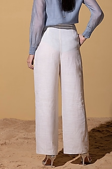 Ivory Linen Palazzo Pants by AM:PM