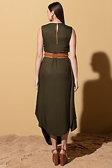 Olive Green Twill Draped Dress by AM:PM