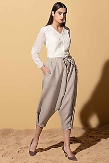 Beige Linen Lounge Pants by AM:PM