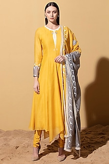 Mustard Yellow Anarkali Set by AM:PM