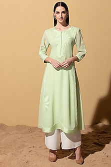 Mint Green Tunic With Palazzo Pants by AM:PM