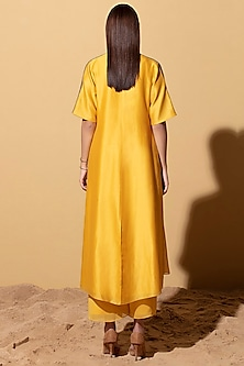Mustard Yellow Jacket With Palazzo Pants & Inner by AM:PM