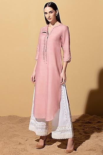 Onion Pink Tunic With Ivory Palazzo Pants by AM:PM