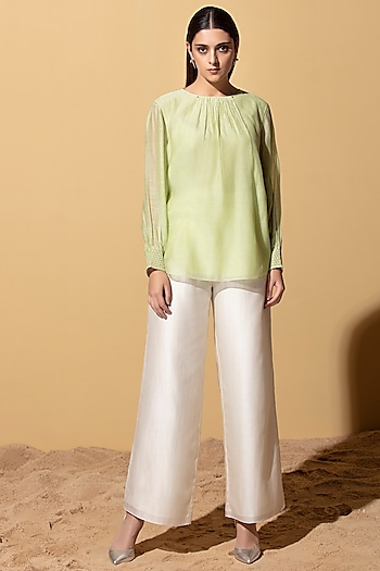 Mint Green Chanderi Top by AM:PM