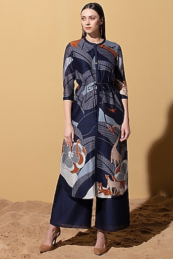 Navy Blue Chanderi Tunic by AM:PM