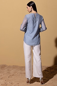 Stone Blue Chanderi Top by AM:PM