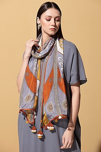 Steel Grey Printed Scarf by AM:PM
