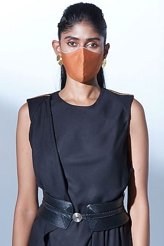 Tan Chanderi Breathable Mask by AMPM