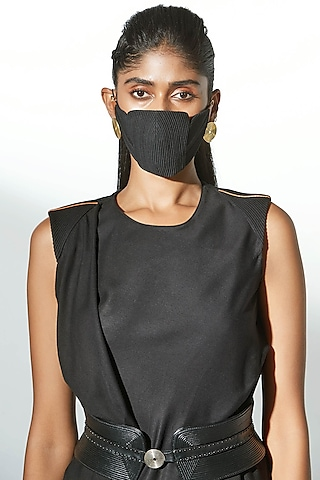 Black Embroidered Breathable Mask by AMPM