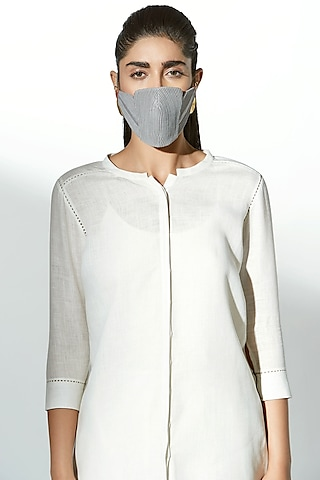Grey Embroidered Breathable Mask by AMPM