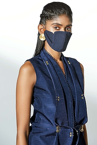 Navy Blue Embroidered Mask by AMPM