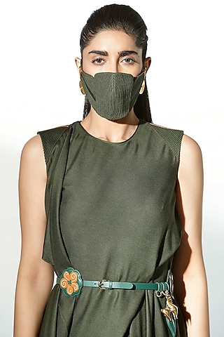 Olive Green Embroidered Mask by AMPM