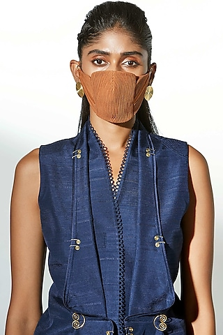 Tan Embroidered Breathable Mask by AMPM