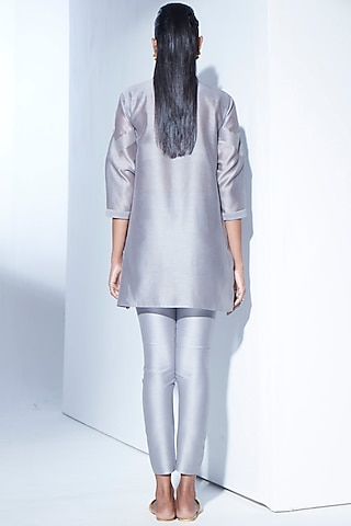Grey Embroidered Pant Set by AMPM