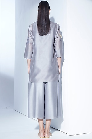 Grey Asymmetrical Jacket Set by AMPM