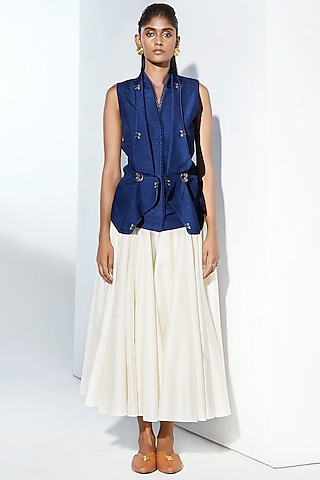 Navy Blue Waistcoat With Gold Details by AMPM