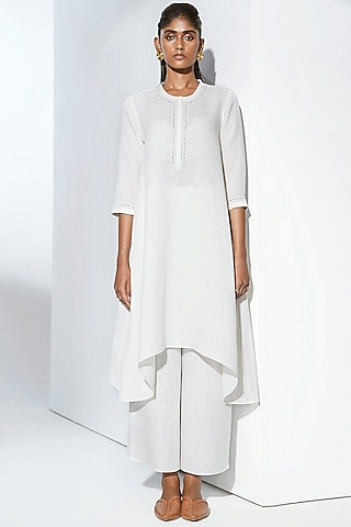White Embroidered Tunic Set by AMPM