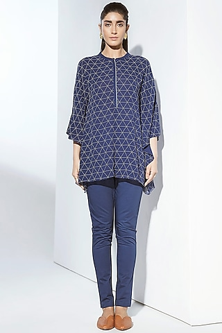 Navy Blue Printed Draped Top by AMPM