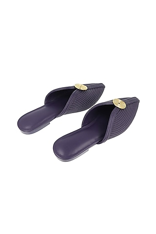 Purple Faux Leather Mules by AMPM