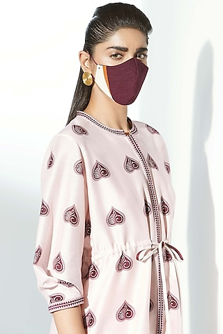 Burgundy Embroidered Mask by AMPM