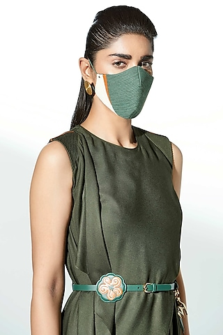 Sage Green Embroidered Mask by AMPM