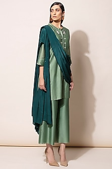 Dirty Green Embroidered Kurta Set by AM:PM-SHOP BY STYLE