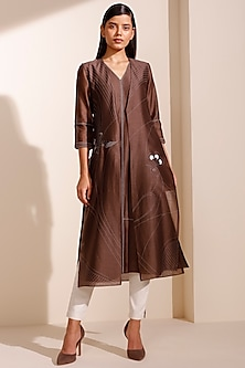 Brown Jacket Kurta With Pants & Inner by AM:PM