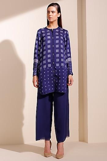 Indigo Blue Printed Shirt by AM:PM