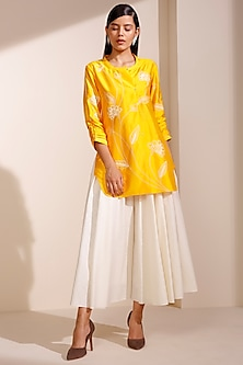Mustard Dupion Silk Shirt by AM:PM