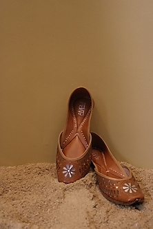 Tan Embroidered Juttis by AMPM