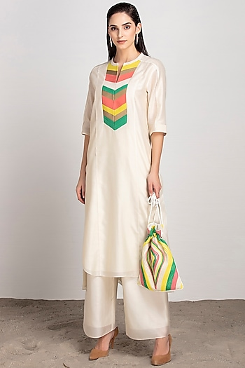 Ivory Embroidered Potli With Drawstrings by AM:PM