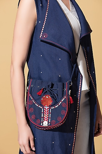 Navy Blue Embroidered Bag by AM:PM