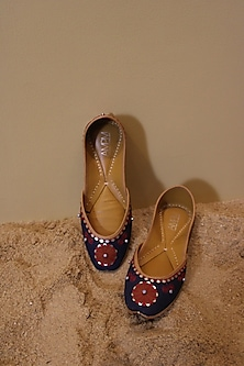 Navy Blue Embroidered Juttis by AMPM