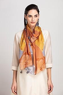 Tan Printed Silk Scarf by AM:PM