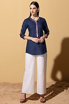Navy Blue Embroidered Shirt by AM:PM
